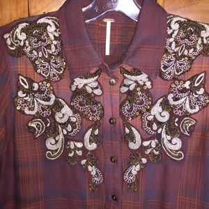 Free People Embellished Western Shirt Small